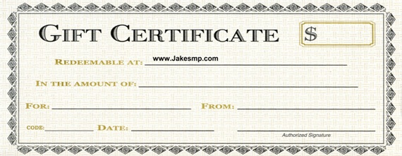 Gift Certificates at www.jakesmp.com