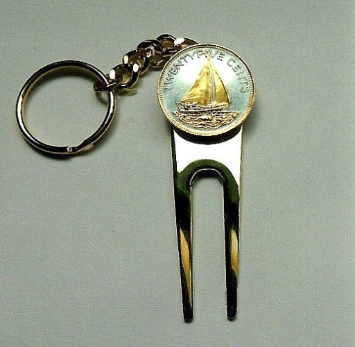 Gold on silver World Coins Golf Ball Marker and Divot Key chain