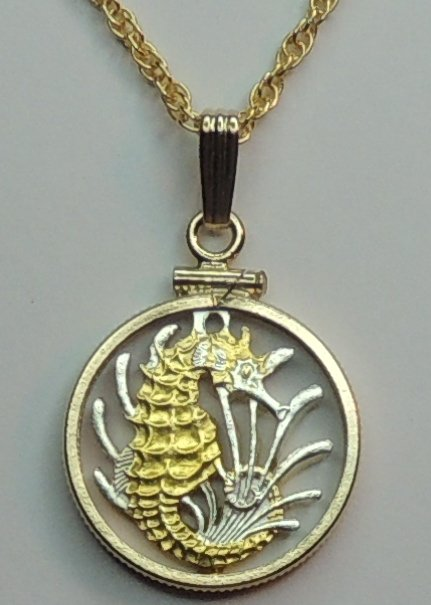Gold on Silver Cut-Out Coins with Plain Bezels and Chains