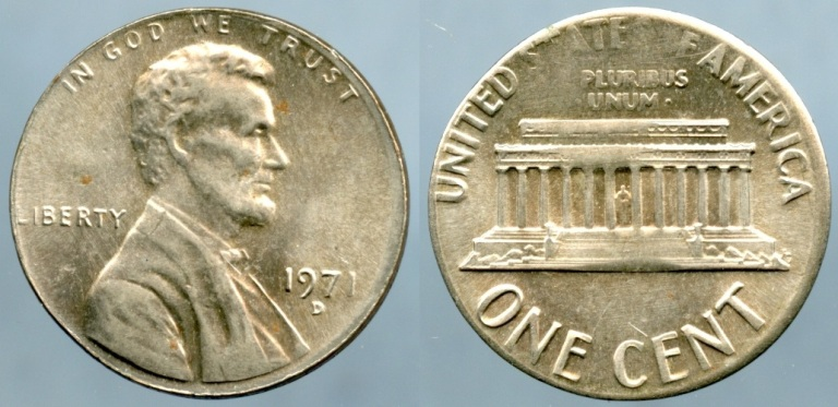 1971 D Lincoln Cent Error Wrong Planchet Struck On