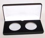 Two Coin Black Leatherette Clamshell Gift Box - 3 1/4  X 6 9/16  X 1