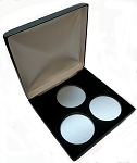 Three Coin Black Leatherette Clamshell Gift Box - 5  X 5  X 1
