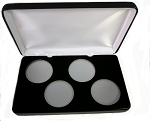 Four Coin Black Leatherette Clamshell Gift Box - 4 3/4  X 7 5/8  X 1 3/16