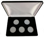 Five Coin Black Leatherette Clamshell Gift Box - 10  X 7  X 1 3/16