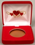 Valentine's Day Single Coin Red velvet metal clamshell Gift Box - 3¼  X 3  X 1
