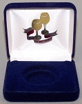 Anniversary Single Coin Blue velvet metal clamshell  Gift Box - 3¼  X 3  X 1