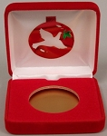 Dove Single Coin Red velvet metal clamshell Gift Box - 3¼  X 3  X 1