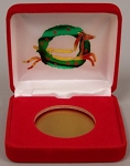 Wreath and Reindeer Single Coin Red velvet metal clamshell Gift Box - 3¼  X 3  X 1
