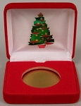 Christmas Tree Single Coin Red velvet metal clamshell Gift Box - 3¼  X 3  X 1