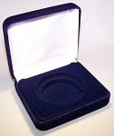 Single Coin Blue Velvet Clamshell Gift Box - 3¼  X 3  X 1