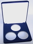 Three Coin Blue Velvet Clamshell Gift Box - 5  X 5  X 1