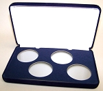 Four Coin Blue Velvet Clamshell Gift Box - 4 3/4  X 7 5/8  X 1 3/16