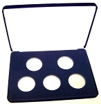 Five Coin Blue Velvet Clamshell Gift Box - 10  X 7  X 1 3/16