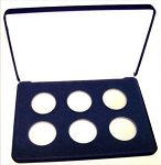 Six Coin Blue Velvet Clamshell Gift Box - 10  X 7  X 1 3/16