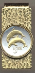 2-Toned Gold on Silver Iceland 5 kronur - 2 Dolphins - Hinged Money Clip