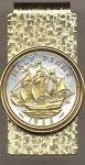 2-Toned Gold on Silver British Half penny Sailing ship - Hinged Money Clip