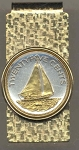 2-Toned Gold on Silver Bahamas 25 cent Sail boat - Hinged Money Clip