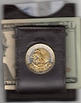 2-Toned Gold on Silver Mexican 20 centavo Eagle - Folding Money clip