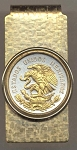 2-Toned Gold on Silver  Mexican 10 centavo Eagle - Hinged Money Clip