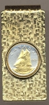 2-Toned Gold on Silver Canadian 10 cent Bluenose Sail boat - Hinged Money Clip