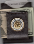 2-Toned Gold on Silver South African penny Sailing ship - Folding Money clip