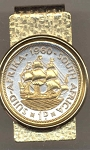2-Toned Gold on Silver  So. African penny Old Sailing ship - Hinged Money Clip