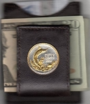 2-Toned Gold on Silver Bahamas 50 cent Blue Marlin - Folding Money clip