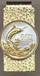 2-Toned Gold on Silver Bahamas 50 cent Blue Marlin - Hinged Money Clip