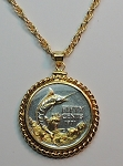 "2-Toned ""Gold on Silver"" Bahamas  ""Blue Marlin"",  Coin Necklace - Rope Bezel"