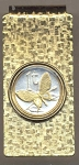 2-Toned Gold on Silver Papa New Guinea 1 toea Butterfly - Hinged Money Clip