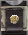 2-Toned Gold on Silver Ethiopia 50 cent Lion - Folding Money clip