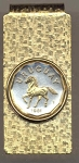 2-Toned Gold on Silver Uruguay 10 centesimal Horse - Hinged Money Clip