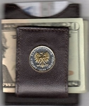 2-Toned Gold on Silver Polish 5 zlotych Eagle - Folding Money clip