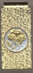 2-Toned Gold on Silver Cook Islands 5 cent Hibiscus - Hinged Money Clip