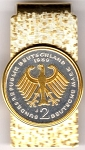 2-Toned Gold on Silver German 2 Mark Eagle - Hinged Money Clip