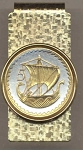 2-Toned Gold on Silver Cyprus 5 Mils Viking Ship - Hinged Money Clip