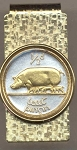 2-Toned Gold on Silver Irish Half penny Pig & piglets - Hinged Money Clip