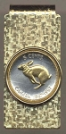 2-Toned Gold on Silver Canadian Centennial 5 cent Rabbit - Hinged Money Clip