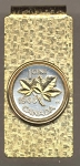 2-Toned Gold on Silver Canadian penny Maple leaf - Hinged Money Clip