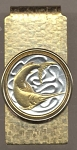 2-Toned Gold on Silver Singapore 20 cent Sword fish - Hinged Money Clip