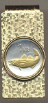 2-Toned Gold on Silver Iceland 1 krona Cod fish - Hinged Money Clip