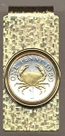 2-Toned Gold on Silver Guernsey penny Crab - Hinged Money Clip
