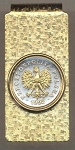 2-Toned Gold on Silver Polish 5 Groszy Eagle with crown - Hinged Money Clip