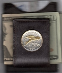 2-Toned Gold on Silver Tuvalu 20 cent Flying fish - Folding Money clip