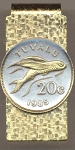 2-Toned Gold on Silver Tuvalu 20 cent Flying fish - Hinged Money Clip