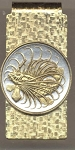 2-Toned Gold on Silver Singapore 50 cent Lion fish - Hinged Money Clip