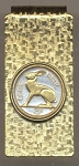 2-Toned Gold on Silver Ireland 3 pence Rabbit - Hinged Money Clip