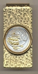 2-Toned Gold on Silver Cayman Islands 10 cent Turtle - Hinged Money Clip