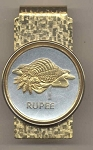 2-Toned Gold on Silver Seychelles 1 Rupee Conch - Hinged Money Clip