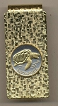 2-Toned Gold on Silver Cape Verde 1 escudos Sea Turtle - Hinged Money Clip